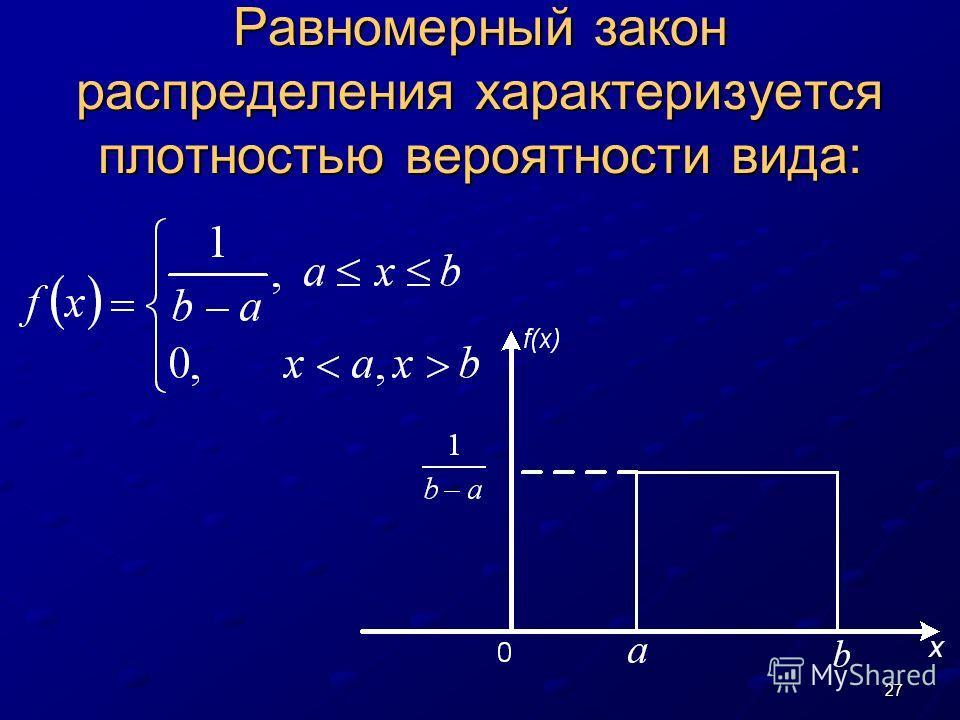 27 Равномерный закон распределения характеризуется плотностью вероятности вида: