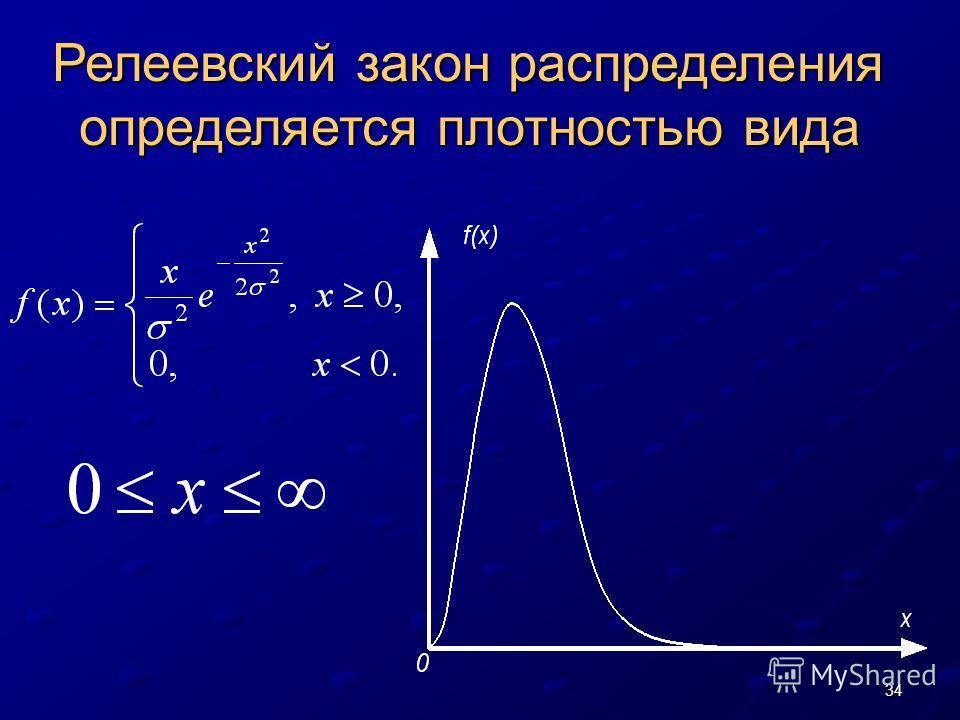 34 Релеевский закон распределения определяется плотностью вида