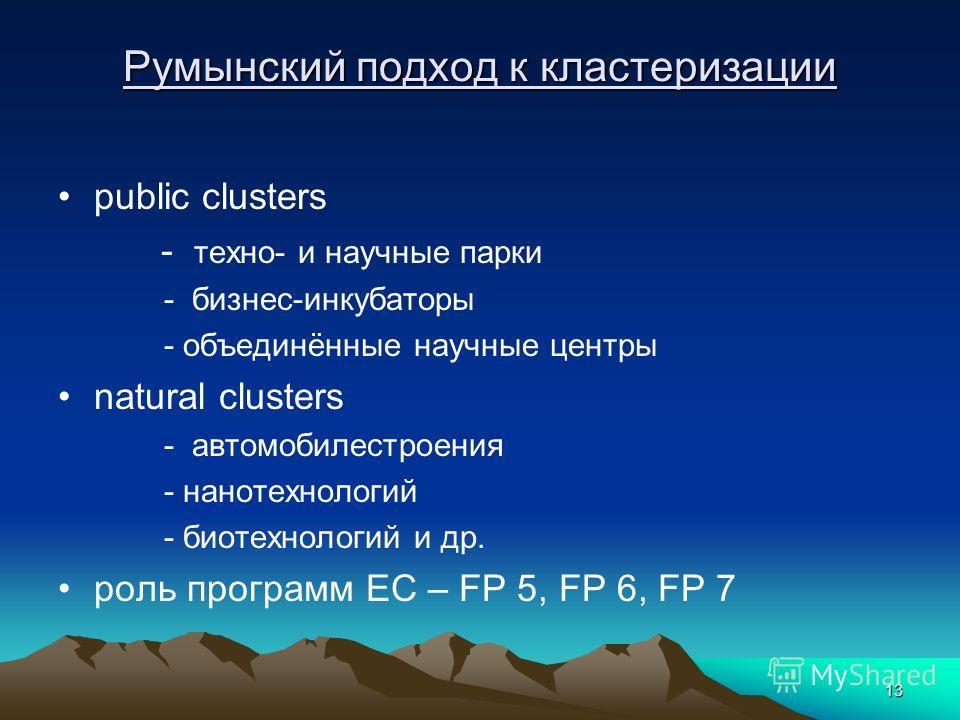 13 Румынский подход к кластеризации public clusters - техно- и научные парки - бизнес-инкубаторы - объединённые научные центры natural clusters - автомобилестроения - нанотехнологий - биотехнологий и др. роль программ ЕС – FP 5, FP 6, FP 7