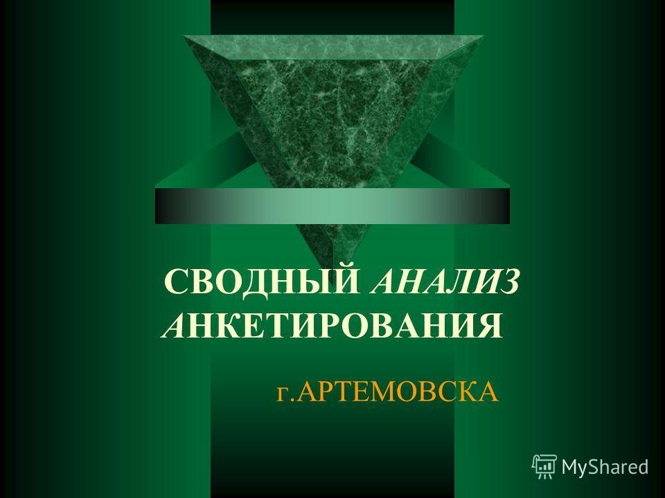 СВОДНЫЙ АНАЛИЗ АНКЕТИРОВАНИЯ г.АРТЕМОВСКА