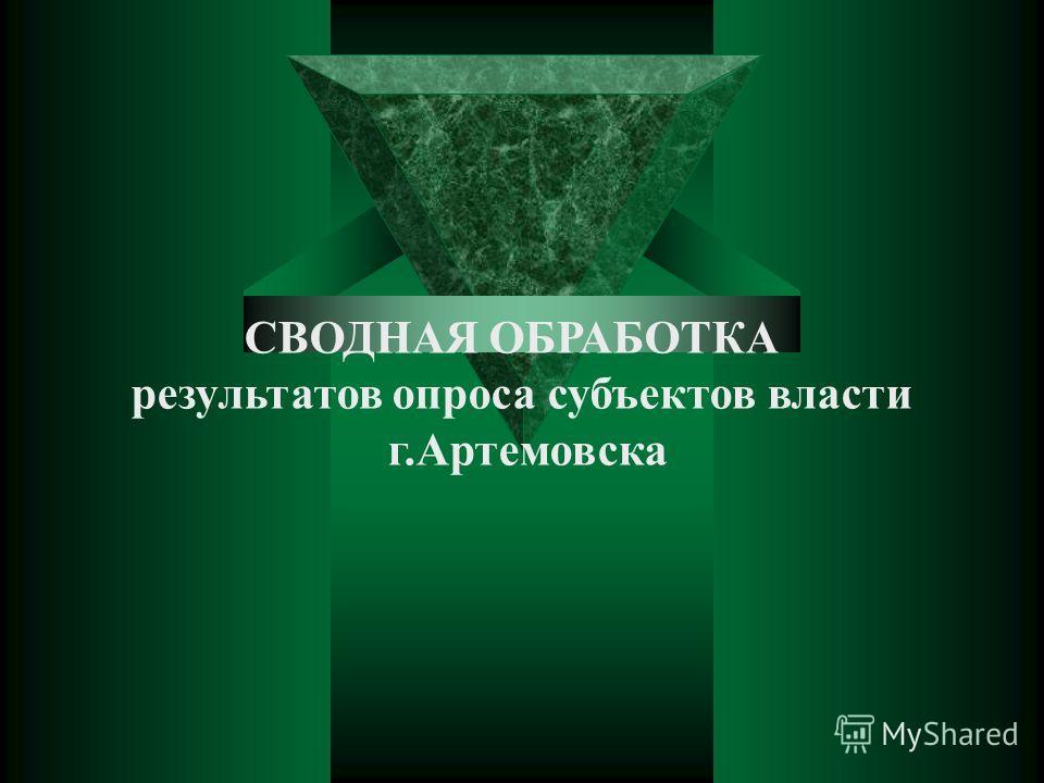 CВОДНАЯ ОБРАБОТКА результатов опроса субъектов власти г.Артемовска