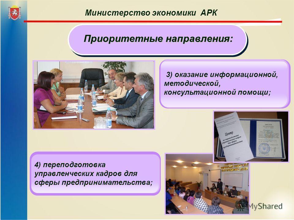 Министерство экономики АРК Приоритетные направления: 3) оказание информационной, методической, консультационной помощи; 4) переподготовка управленческих кадров для сферы предпринимательства;