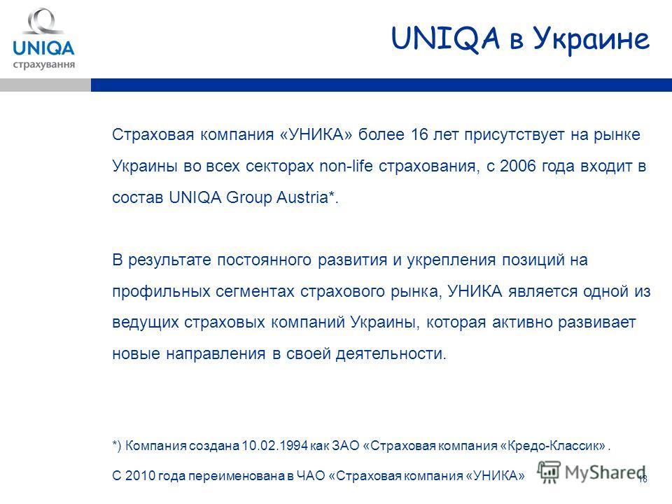 18 Страховая компания «УНИКА» более 16 лет присутствует на рынке Украины во всех секторах non-life страхования, с 2006 года входит в состав UNIQA Group Austria*. В результате постоянного развития и укрепления позиций на профильных сегментах страховог