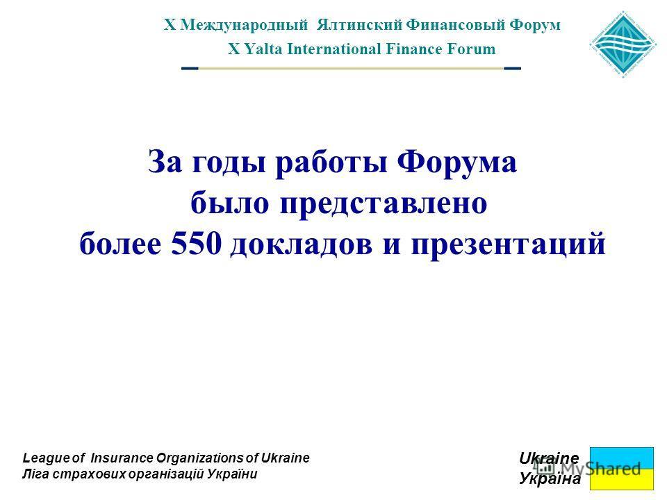 X Международный Ялтинский Финансовый Форум X Yalta International Finance Forum League of Insurance Organizations of Ukraine Ліга страхових організацій України Ukraine Україна За годы работы Форума было представлено более 550 докладов и презентаций