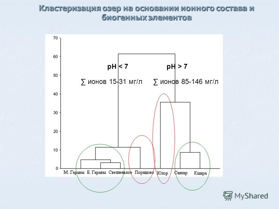 Кластеризация озер на основании ионного состава и биогенных элементов pH > 7pH < 7 ионов 15-31 мг/л ионов 85-146 мг/л