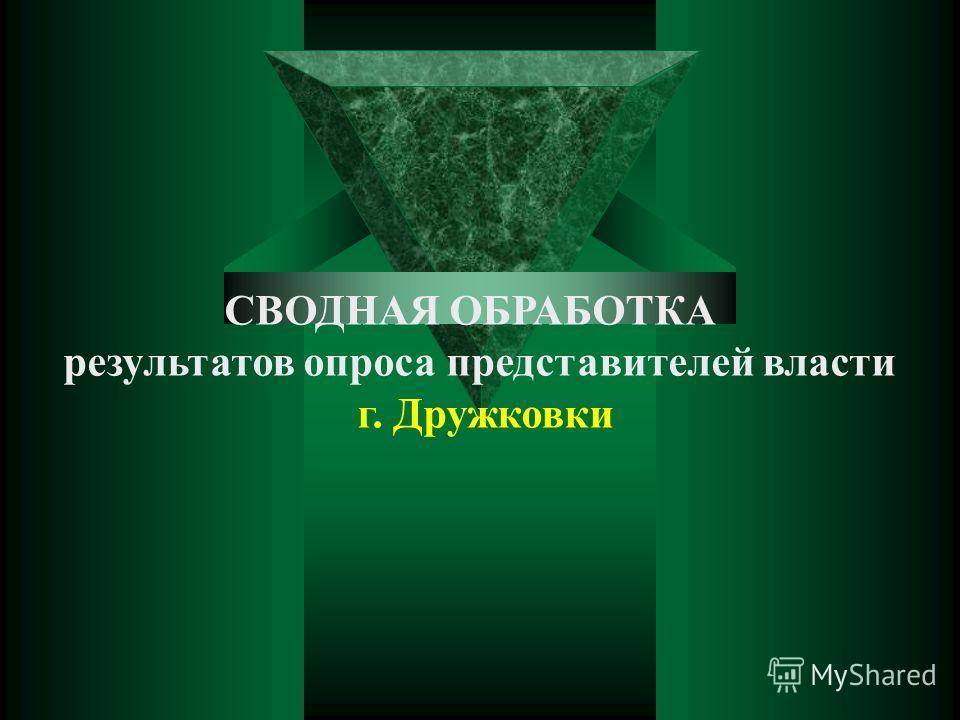 CВОДНАЯ ОБРАБОТКА результатов опроса представителей власти г. Дружковки