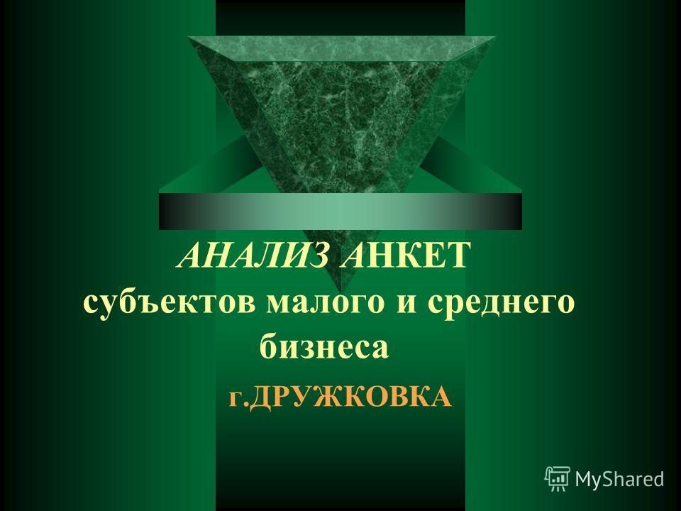 АНАЛИЗ АНКЕТ субъектов малого и среднего бизнеса г.ДРУЖКОВКА