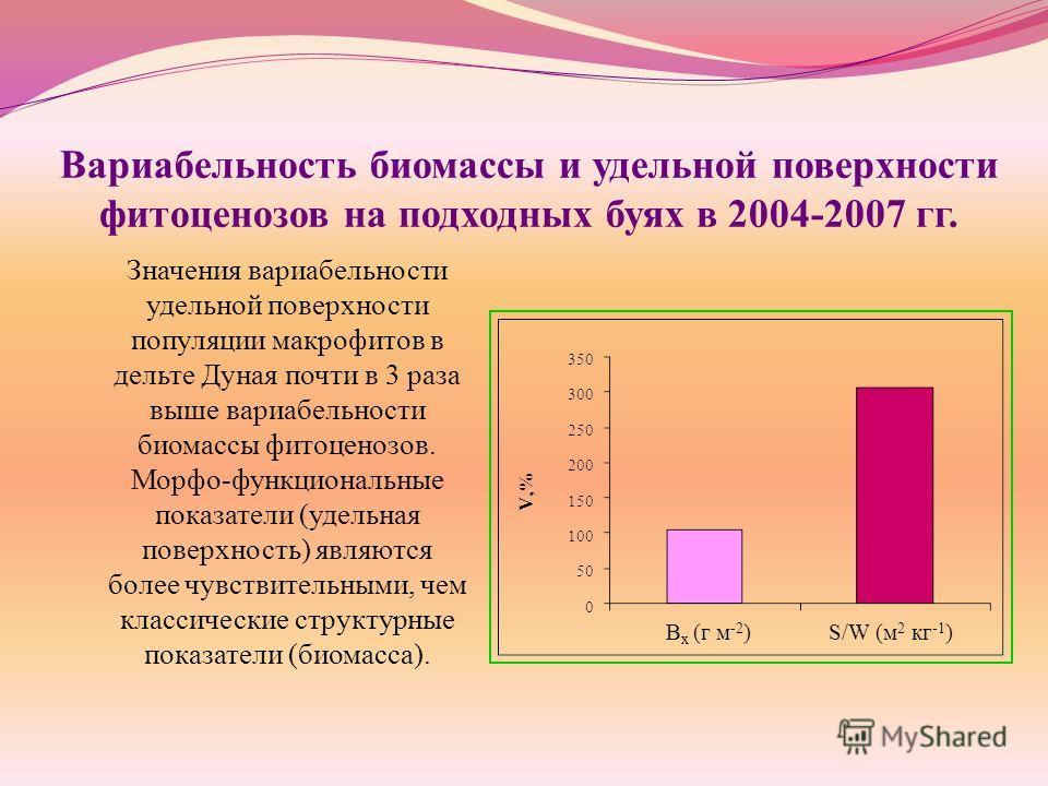 Вариабельность биомассы и удельной поверхности фитоценозов на подходных буях в 2004-2007 гг. Значения вариабельности удельной поверхности популяции макрофитов в дельте Дуная почти в 3 раза выше вариабельности биомассы фитоценозов. Морфо-функциональны