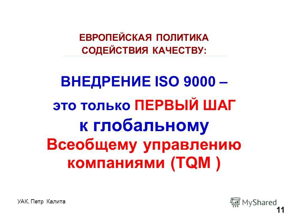 УАК, Петр Калита ЕВРОПЕЙСКАЯ ПОЛИТИКА СОДЕЙСТВИЯ КАЧЕСТВУ: ВНЕДРЕНИЕ ISO 9000 – это только ПЕРВЫЙ ШАГ к глобальному Всеобщему управлению компаниями (TQM ) 11