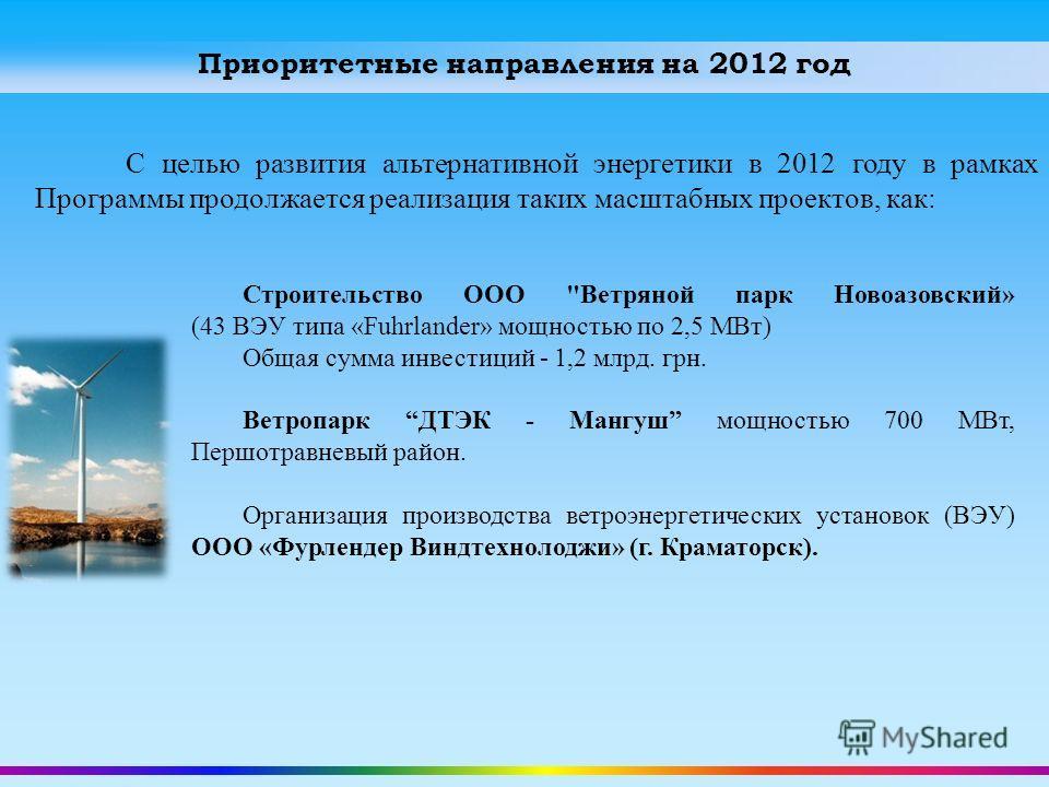 Приоритетные направления на 2012 год С целью развития альтернативной энергетики в 2012 году в рамках Программы продолжается реализация таких масштабных проектов, как: Строительство ООО