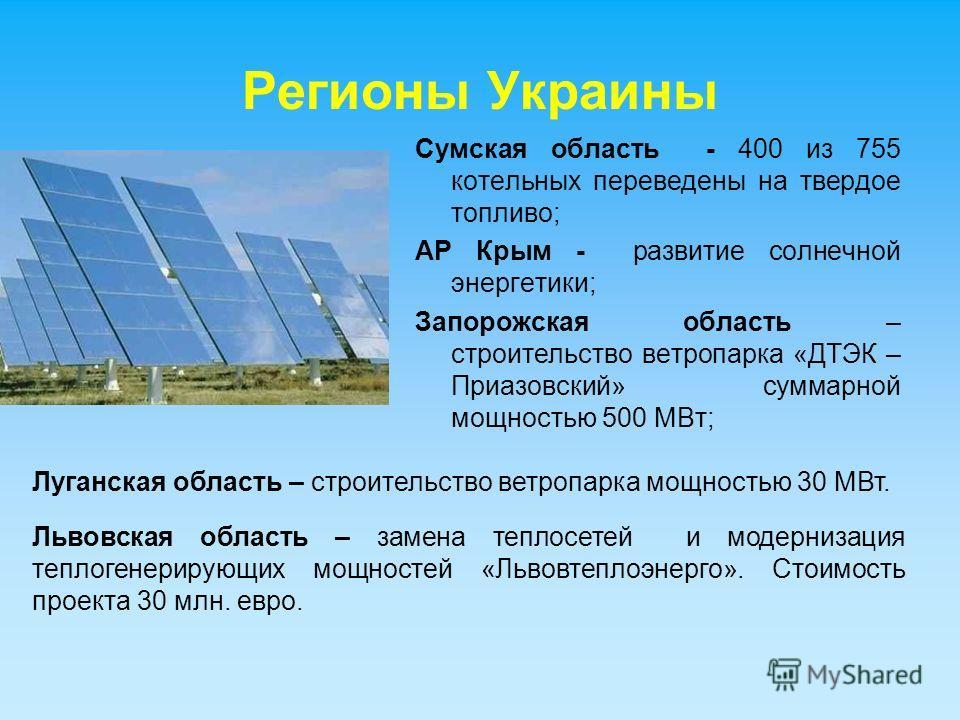 Регионы Украины Сумская область - 400 из 755 котельных переведены на твердое топливо; АР Крым - развитие солнечной энергетики; Запорожская область – строительство ветропарка «ДТЭК – Приазовский» суммарной мощностью 500 МВт; Луганская область – строит