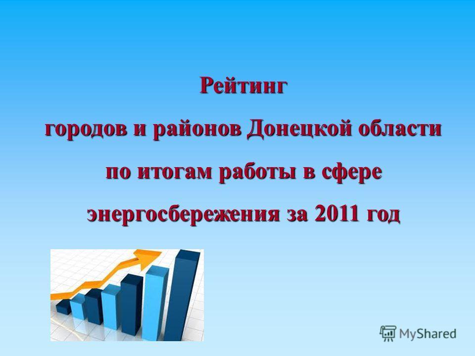 Рейтинг городов и районов Донецкой области по итогам работы в сфере энергосбережения за 2011 год