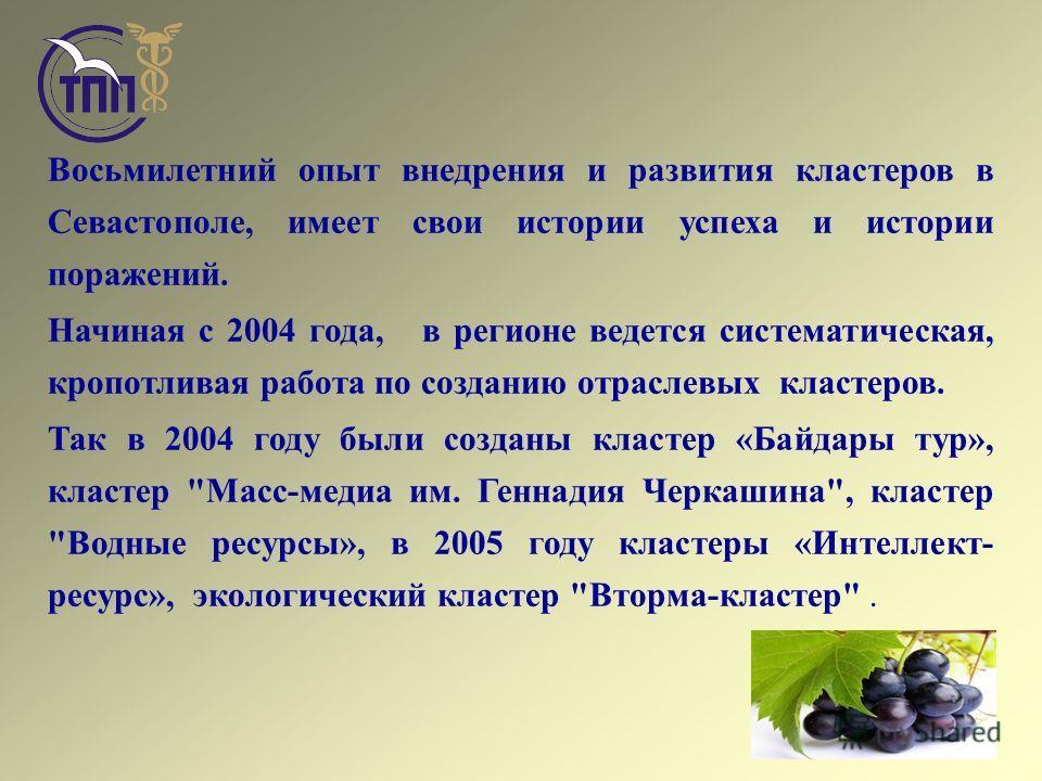 Восьмилетний опыт внедрения и развития кластеров в Севастополе, имеет свои истории успеха и истории поражений. Начиная с 2004 года, в регионе ведется систематическая, кропотливая работа по созданию отраслевых кластеров. Так в 2004 году были созданы к