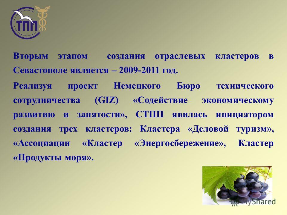 Вторым этапом создания отраслевых кластеров в Севастополе является – 2009-2011 год. Реализуя проект Немецкого Бюро технического сотрудничества (GIZ) «Содействие экономическому развитию и занятости», СТПП явилась инициатором создания трех кластеров: К