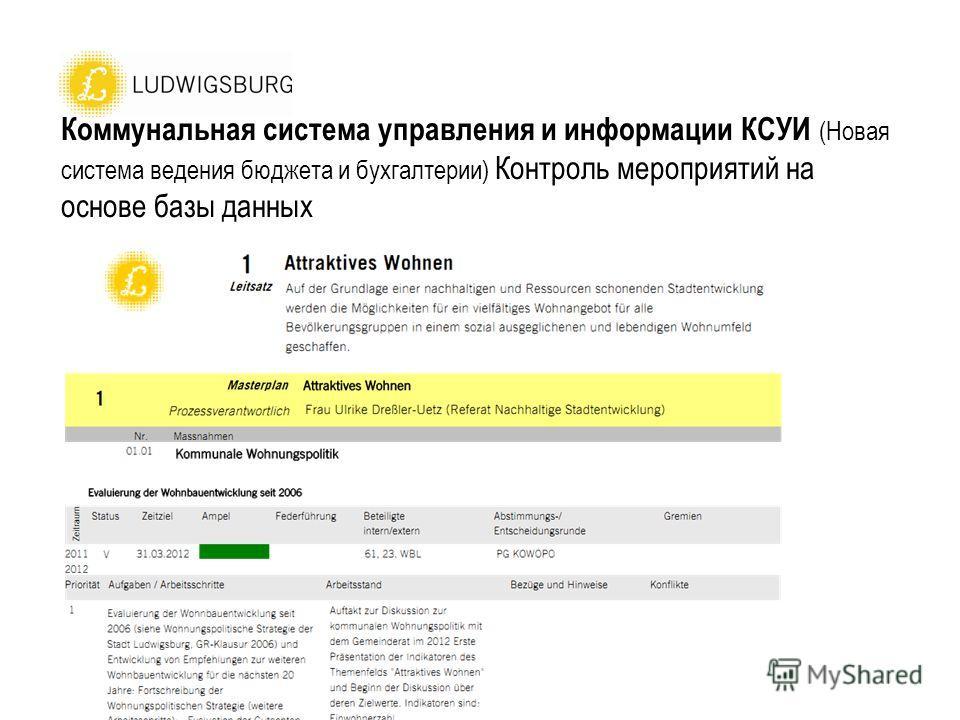 Коммунальная система управления и информации КСУИ (Новая система ведения бюджета и бухгалтерии) Контроль мероприятий на основе базы данных
