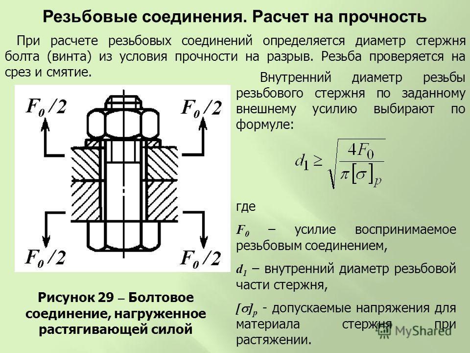 Рисунок 29 – Болтовое соединение, нагруженное растягивающей силой Внутренний диаметр резьбы резьбового стержня по заданному внешнему усилию выбирают по формуле: где F 0 – усилие воспринимаемое резьбовым соединением, d 1 – внутренний диаметр резьбовой
