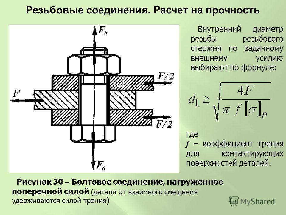 Рисунок 30 – Болтовое соединение, нагруженное поперечной силой (детали от взаимного смещения удерживаются силой трения) Внутренний диаметр резьбы резьбового стержня по заданному внешнему усилию выбирают по формуле: где f – коэффициент трения для конт
