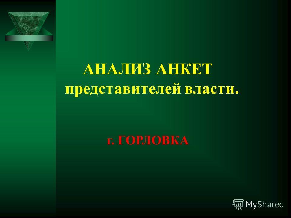 АНАЛИЗ АНКЕТ представителей власти. г. ГОРЛОВКА