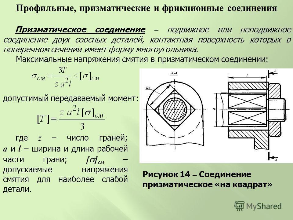 Призматическое соединение подвижное или неподвижное соединение двух соосных деталей, контактная поверхность которых в поперечном сечении имеет форму многоугольника. Максимальные напряжения смятия в призматическом соединении: Рисунок 14 – Соединение п