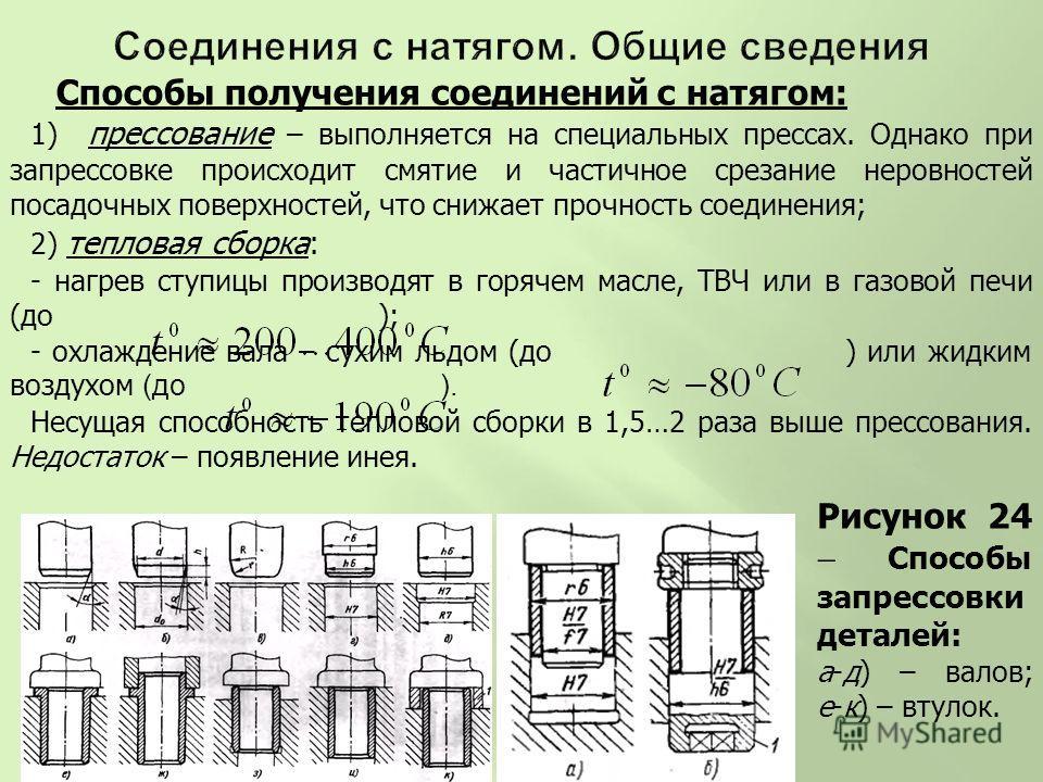 Способы получения соединений с натягом: 1) прессование – выполняется на специальных прессах. Однако при запрессовке происходит смятие и частичное срезание неровностей посадочных поверхностей, что снижает прочность соединения; 2) тепловая сборка: - на