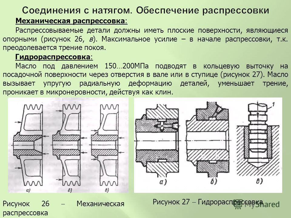 Механическая распрессовка: Распрессовываемые детали должны иметь плоские поверхности, являющиеся опорными (рисунок 26, в). Максимальное усилие – в начале распрессовки, т.к. преодолевается трение покоя. Гидрораспрессовка: Масло под давлением 150…200МП