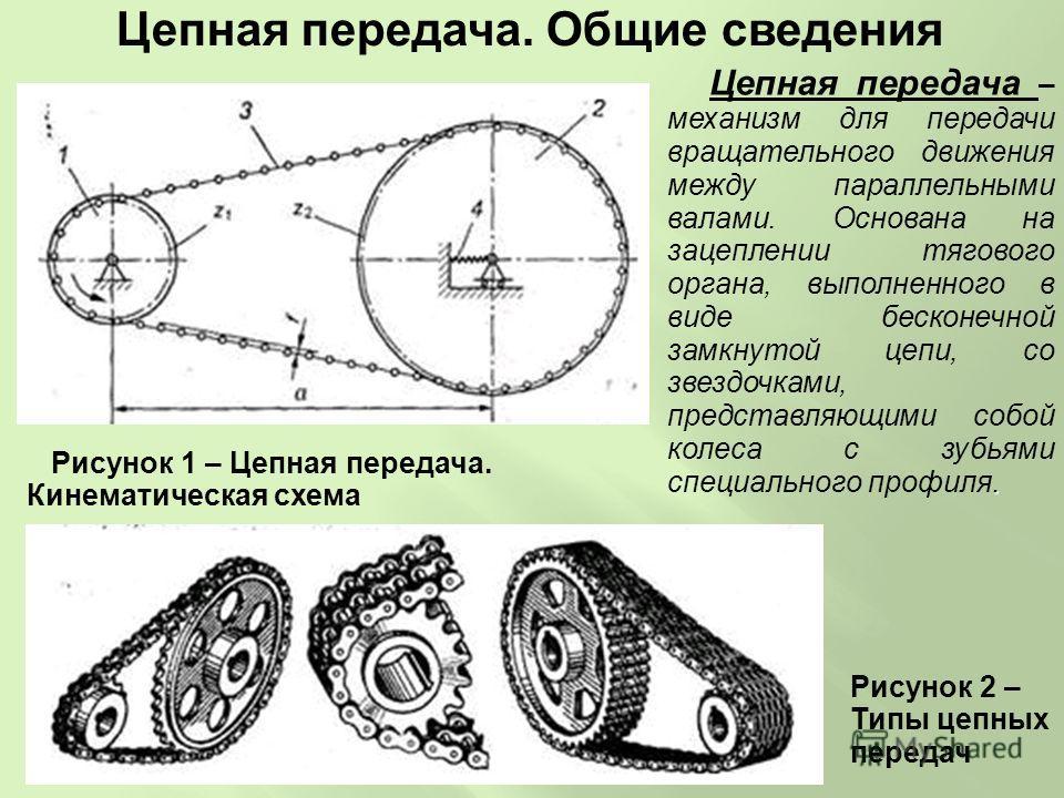 Цепная передача. Общие сведения. Цепная передача – механизм для передачи вращательного движения между параллельными валами. Основана на зацеплении тягового органа, выполненного в виде бесконечной замкнутой цепи, со звездочками, представляющими собой
