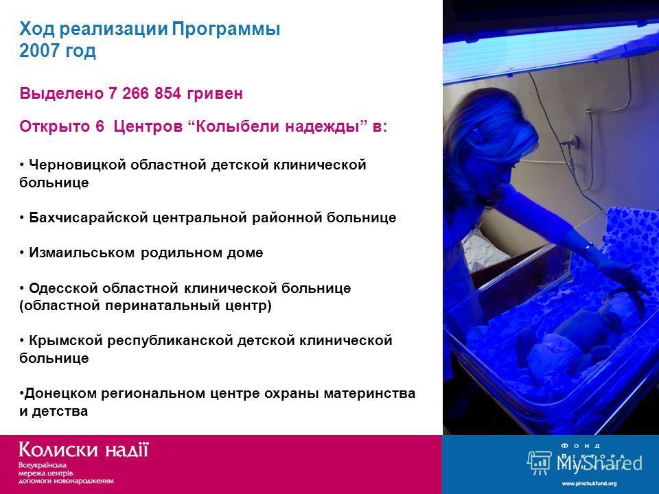 Ход реализации Программы 2007 год Выделено 7 266 854 гривен Открыто 6 Центров Колыбели надежды в: Черновицкой областной детской клинической больнице Бахчисарайской центральной районной больнице Измаильськом родильном доме Одесской областной клиническ
