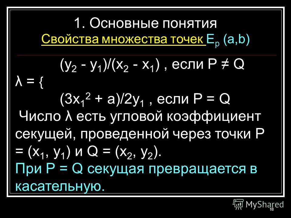 (y 2 - y 1 )/(x 2 - x 1 ), если P Q λ = { (3x 1 2 + a)/2y 1, если P = Q Число λ есть угловой коэффициент секущей, проведенной через точки P = (x 1, y 1 ) и Q = (x 2, y 2 ). При P = Q секущая превращается в касательную. 18 1. Основные понятия Свойства