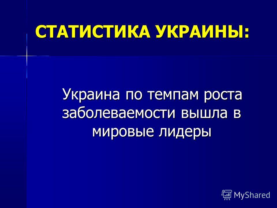 СТАТИСТИКА УКРАИНЫ: Украина по темпам роста заболеваемости вышла в мировые лидеры Украина по темпам роста заболеваемости вышла в мировые лидеры