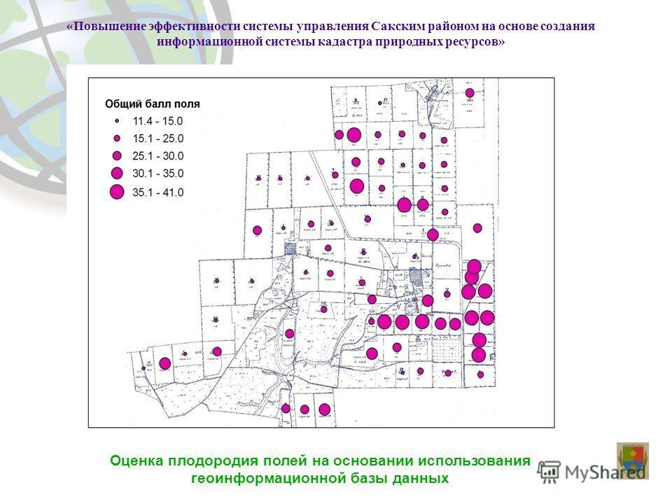 Оценка плодородия полей на основании использования геоинформационной базы данных «Повышение эффективности системы управления Сакским районом на основе создания информационной системы кадастра природных ресурсов»