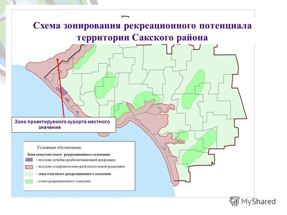 Зона проектируемого курорта местного значения Схема зонирования рекреационного потенциала территории Сакского района