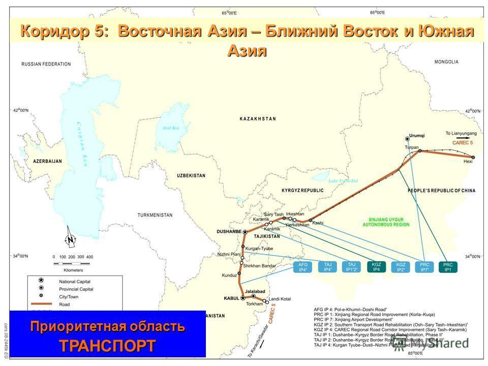 23 Коридор 5:Восточная Азия – Ближний Восток и Южная Азия Приоритетная область ТРАНСПОРТ