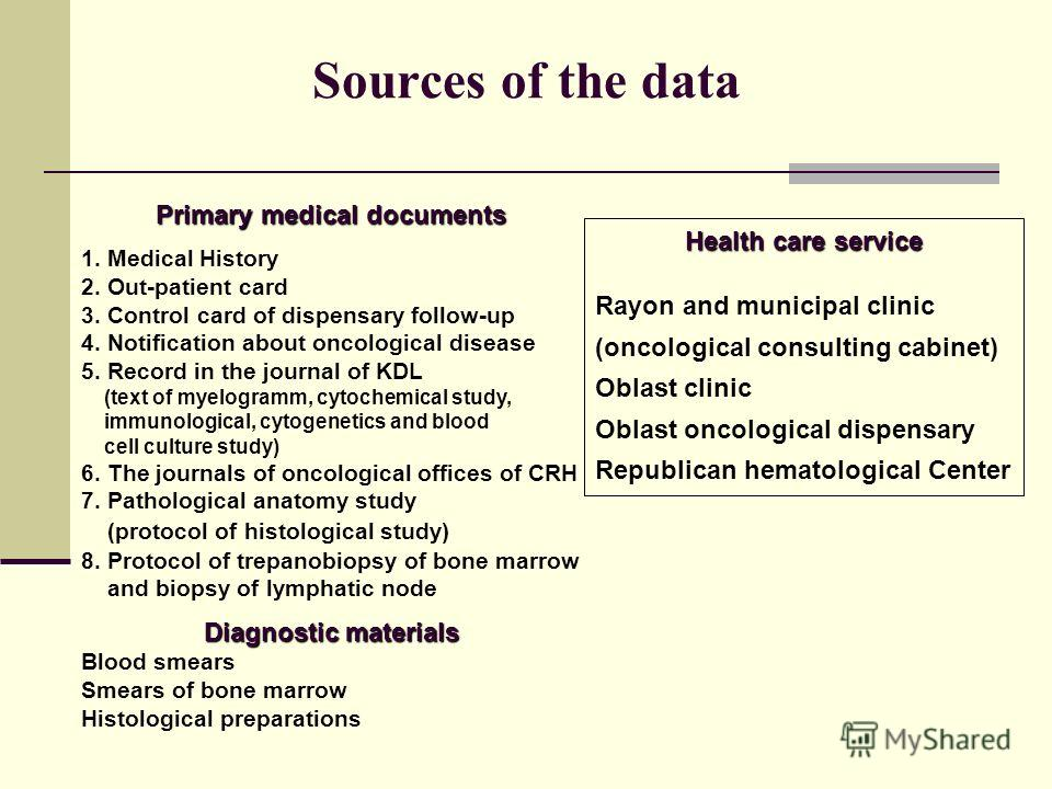 Sources of the data Primary medical documents 1. Medical History 2. Out-patient card 3. Control card of dispensary follow-up 4. Notification about oncological disease 5. Record in the journal of KDL (text of myelogramm, cytochemical study, immunologi