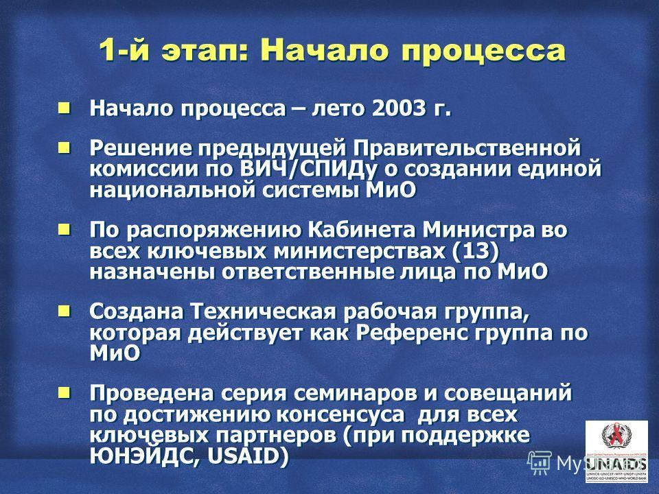 1-й этап: Начало процесса Начало процесса – лето 2003 г. Решение предыдущей Правительственной комиссии по ВИЧ/СПИДу о создании единой национальной системы МиО По распоряжению Кабинета Министра во всех ключевых министерствах (13) назначены ответственн