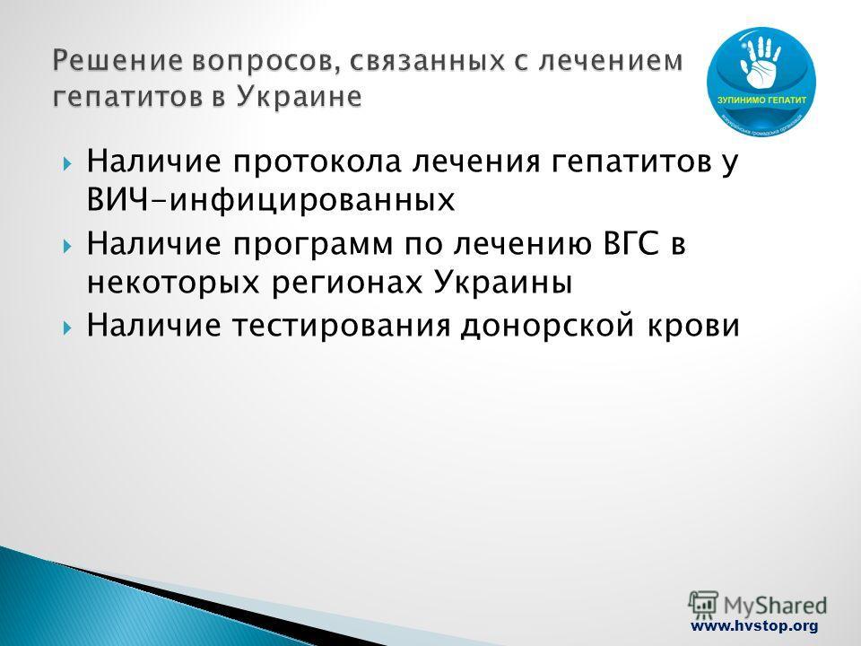www.hvstop.org Наличие протокола лечения гепатитов у ВИЧ-инфицированных Наличие программ по лечению ВГС в некоторых регионах Украины Наличие тестирования донорской крови