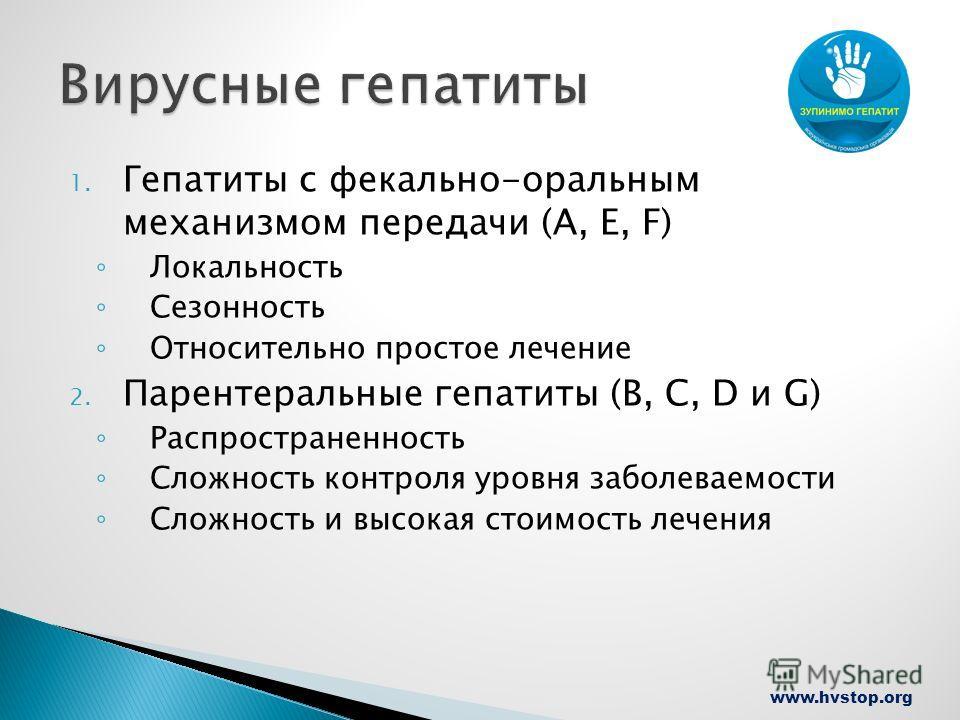 www.hvstop.org 1. Гепатиты с фекально-оральным механизмом передачи (А, Е, F) Локальность Сезонность Относительно простое лечение 2. Парентеральные гепатиты (В, С, D и G) Распространенность Сложность контроля уровня заболеваемости Сложность и высокая