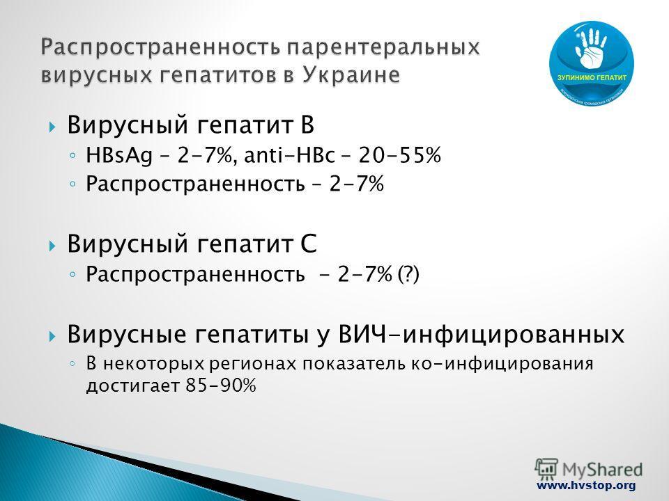www.hvstop.org Вирусный гепатит В HBsAg – 2-7%, anti-HBc – 20-55% Распространенность – 2-7% Вирусный гепатит С Распространенность - 2-7% (?) Вирусные гепатиты у ВИЧ-инфицированных В некоторых регионах показатель ко-инфицирования достигает 85-90%