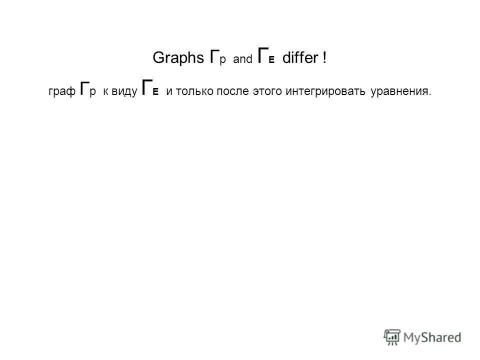Graphs Г р and Г E differ ! граф Г р к виду Г E и только после этого интегрировать уравнения.