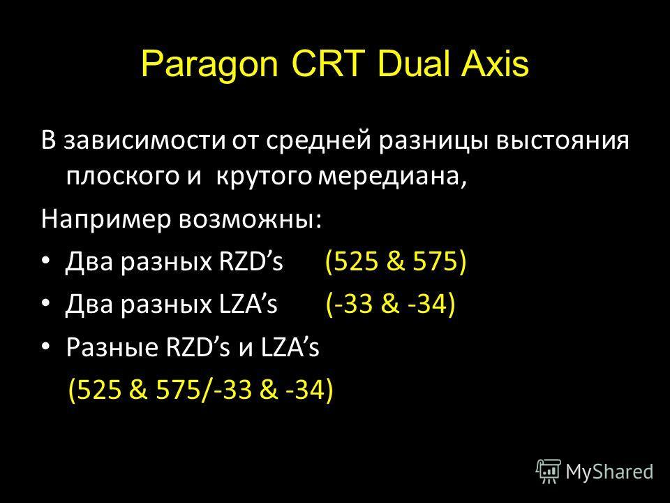 Paragon CRT Dual Axis В зависимости от средней разницы выстояния плоского и крутого мередиана, Например возможны: Два разных RZDs (525 & 575) Два разных LZAs (-33 & -34) Разные RZDs и LZAs (525 & 575/-33 & -34)