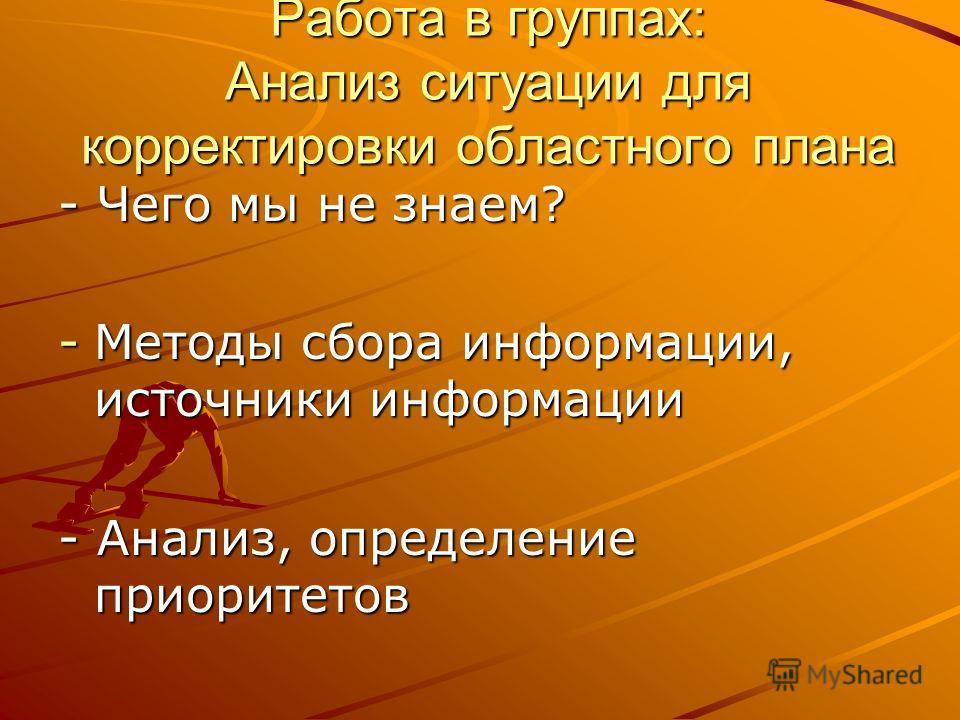Работа в группах: Анализ ситуации для корректировки областного плана - Чего мы не знаем? -Методы сбора информации, источники информации - Анализ, определение приоритетов
