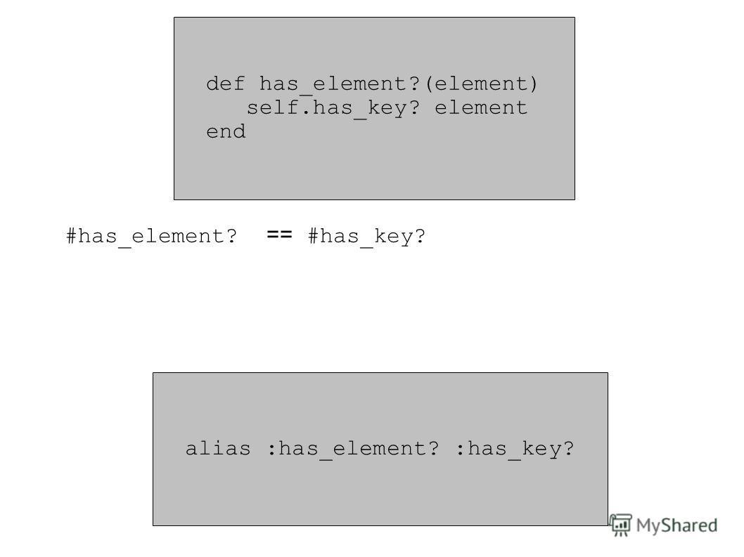 def has_element?(element) self.has_key? element end alias :has_element? :has_key? #has_element? == #has_key?