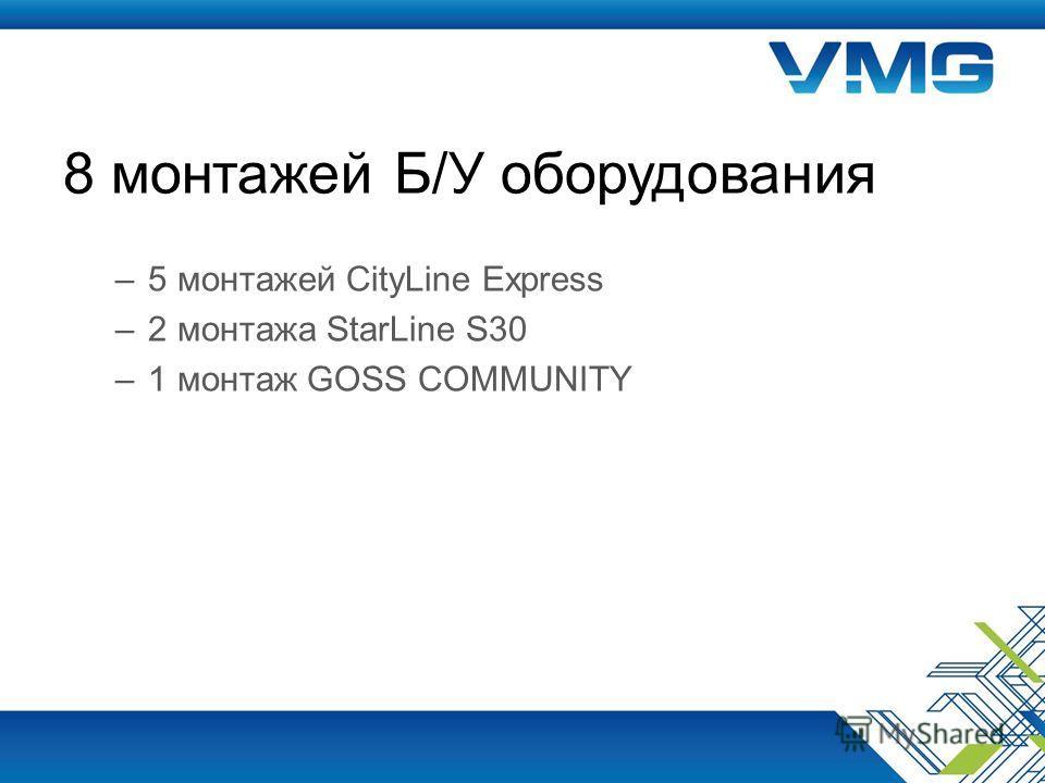 8 монтажей Б/У оборудования –5 монтажей CityLine Express –2 монтажа StarLine S30 –1 монтаж GOSS COMMUNITY