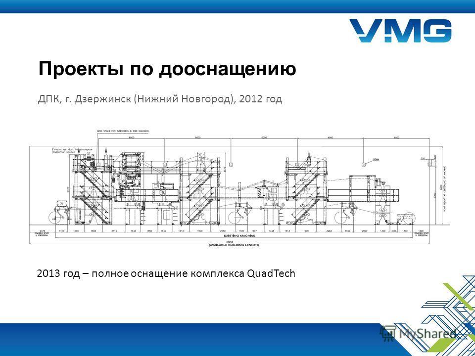 Проекты по дооснащению ДПК, г. Дзержинск (Нижний Новгород), 2012 год 2013 год – полное оснащение комплекса QuadTech