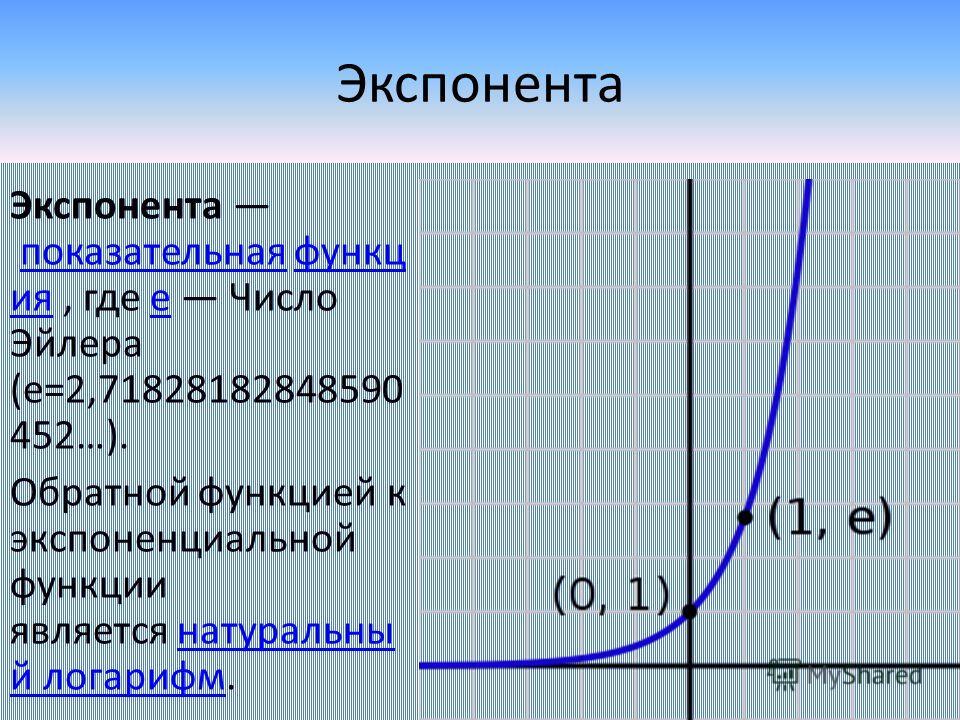 Экспонента Экспонента показательная функц ия, где e Число Эйлера (е=2,71828182848590 452…).показательнаяфункц ияe Обратной функцией к экспоненциальной функции является натуральны й логарифм.натуральны й логарифм