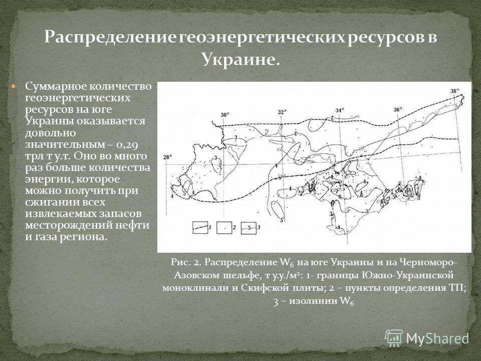 Суммарное количество геоэнергетических ресурсов на юге Украины оказывается довольно значительным – 0,29 трл т у.т. Оно во много раз больше количества энергии, которое можно получить при сжигании всех извлекаемых запасов месторождений нефти и газа рег