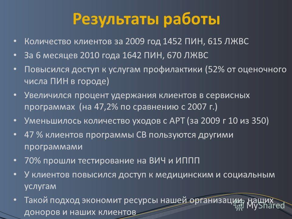 Результаты работы Количество клиентов за 2009 год 1452 ПИН, 615 ЛЖВС За 6 месяцев 2010 года 1642 ПИН, 670 ЛЖВС Повысился доступ к услугам профилактики (52% от оценочного числа ПИН в городе) Увеличился процент удержания клиентов в сервисных программах