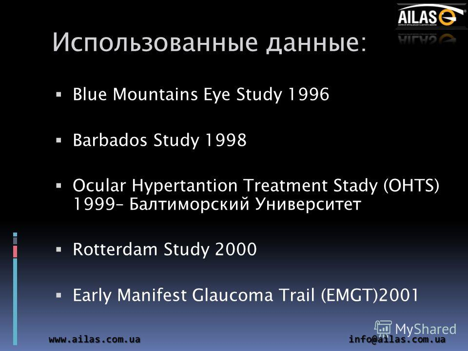 Использованные данные: Blue Mountains Eye Study 1996 Barbados Study 1998 Ocular Hypertantion Treatment Stady (OHTS) 1999– Балтиморский Университет Rotterdam Study 2000 Early Manifest Glaucoma Trail (EMGT)2001