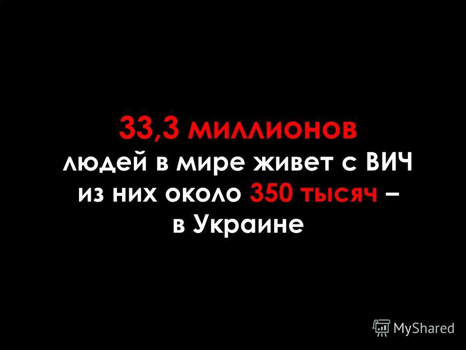 33,3 миллионов людей в мире живет с ВИЧ из них около 350 тысяч – в Украине