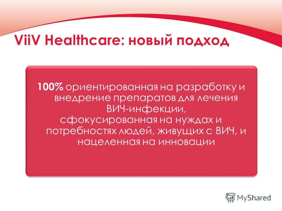 ViiV Healthcare: новый подход 100% ориентированная на разработку и внедрение препаратов для лечения ВИЧ-инфекции, сфокусированная на нуждах и потребностях людей, живущих с ВИЧ, и нацеленная на инновации