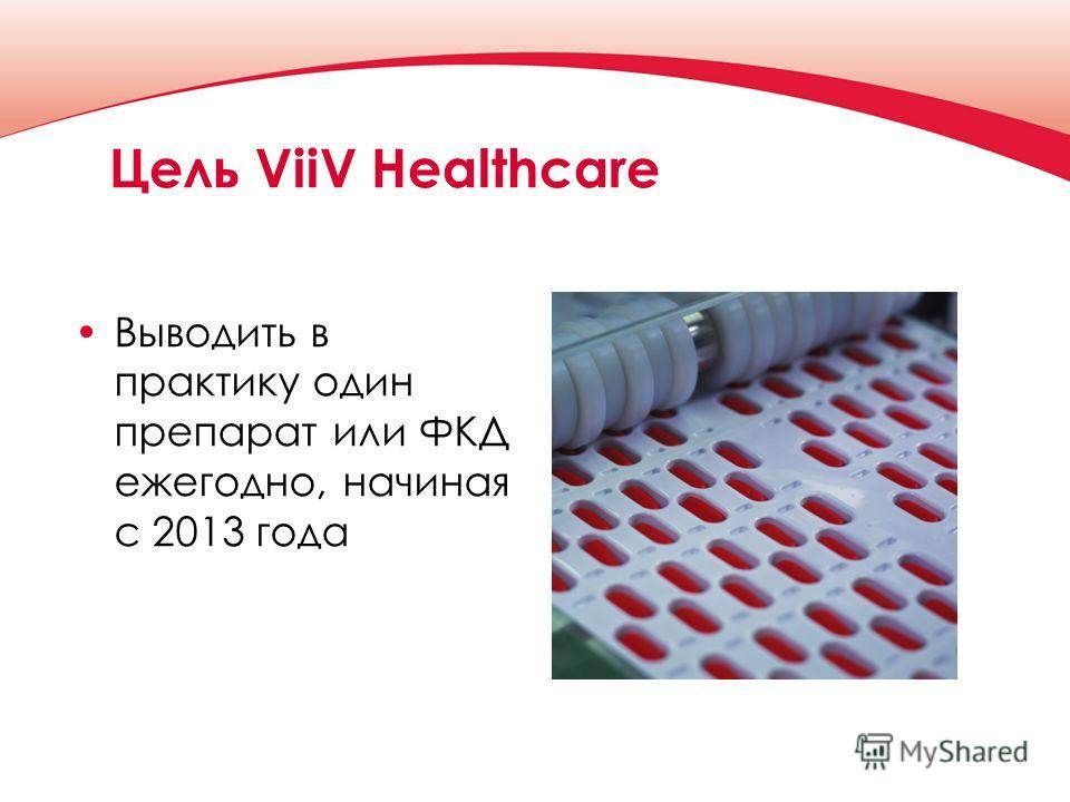 Цель ViiV Healthcare Выводить в практику один препарат или ФКД ежегодно, начиная с 2013 года